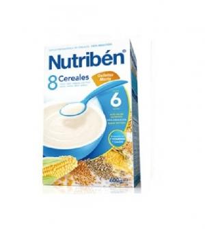 Nutriben papillas con gluten, 8 cereales galletas Maria 300 gr