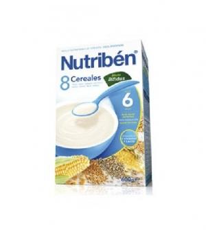 Nutriben papillas con gluten, 8 cereales efecto bifidus 300 gr