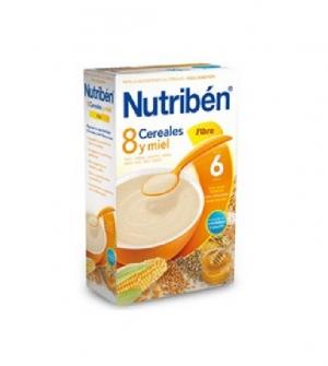 Nutriben papillas con gluten 8 cereales, miel y fibra 600 gr