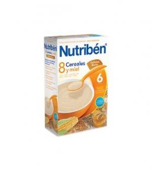 Nutriben papillas con gluten 8 cereales, miel y galletas maria 300 gr