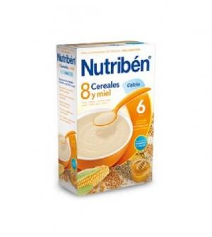 Nutriben papillas con gluten, 8 cereales, miel y calcio 600 gr