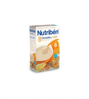 Nutriben papillas con gluten, 8 cereales y miel 600 gr