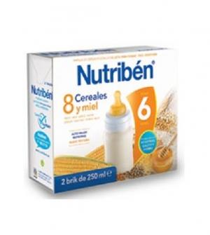 Nutriben papillas liquidas, 8 cereales y miel 500 ml
