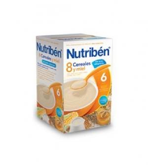 Nutriben papillas con gluten, 8 cereales y miel con leche adaptada 600 gr