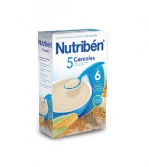 Nutriben papillas con gluten, 5 cereales 300 gr