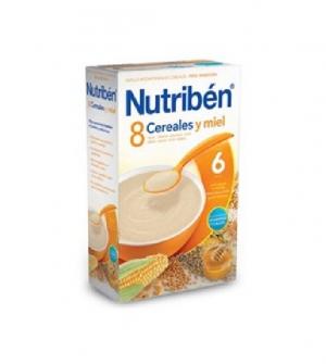 Nutriben papillas con gluten, 8 cereales y miel 300 gr
