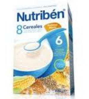 Nutriben papillas con gluten, 8 cereales galletas Maria 600 gr